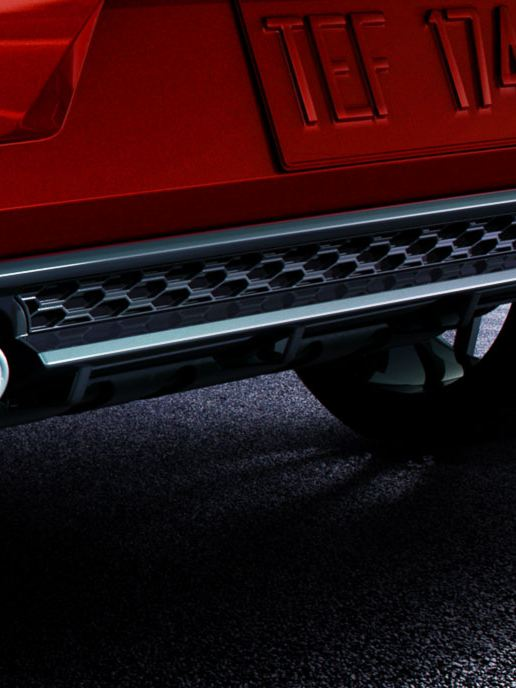 The tailpipes of the Golf R