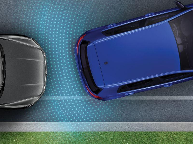 Aide au stationnement en option en action sur la Golf R