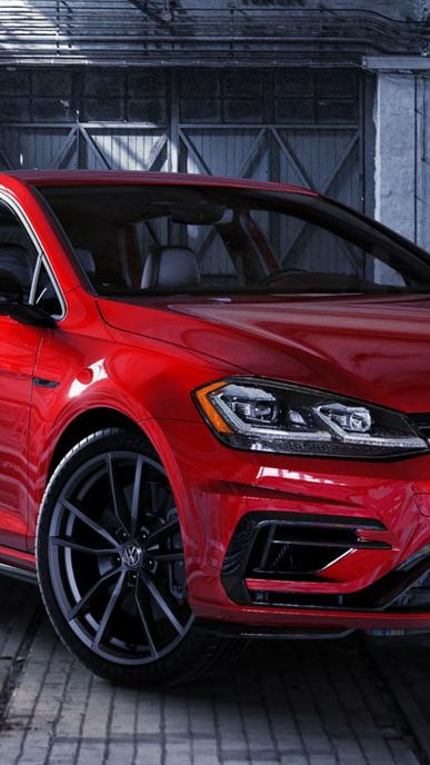 2019 Volkswagen Golf R looking aggressive in a garage