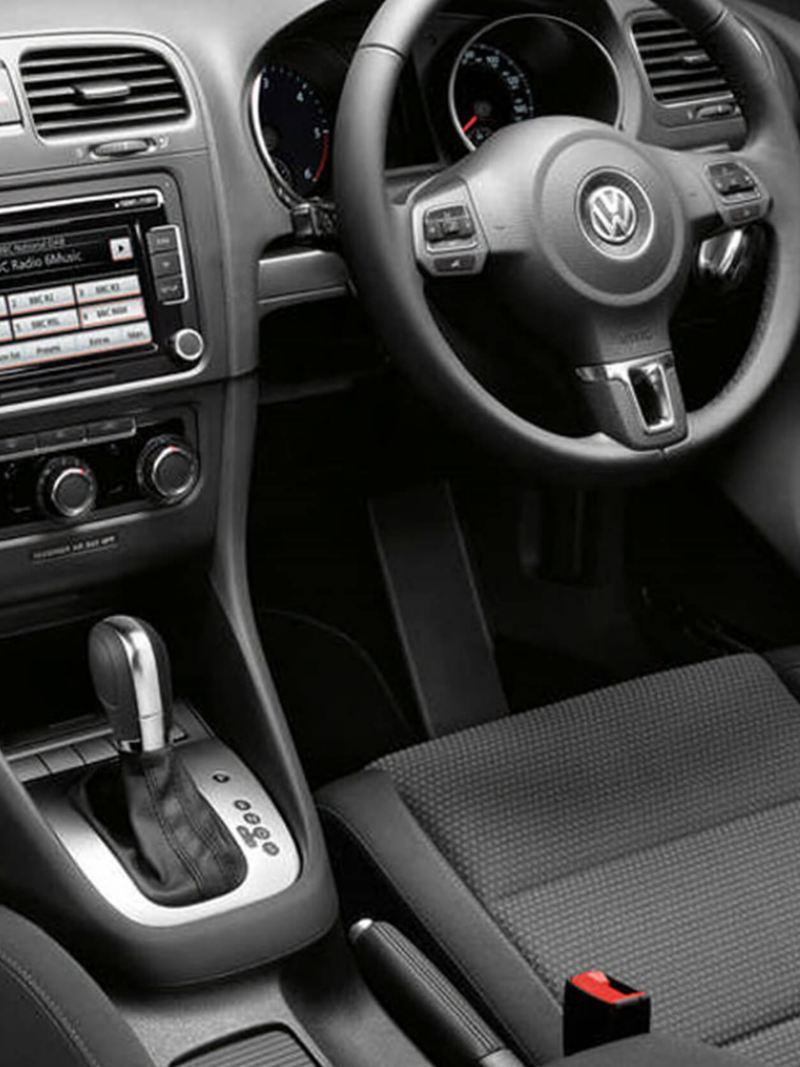 Interior dashboard shot of a Volkswagen Golf S.