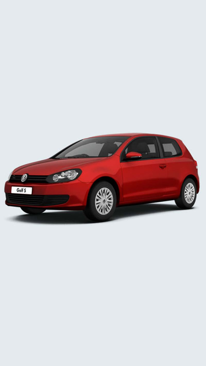 3/4 front view of a red Volkswagen Golf S.