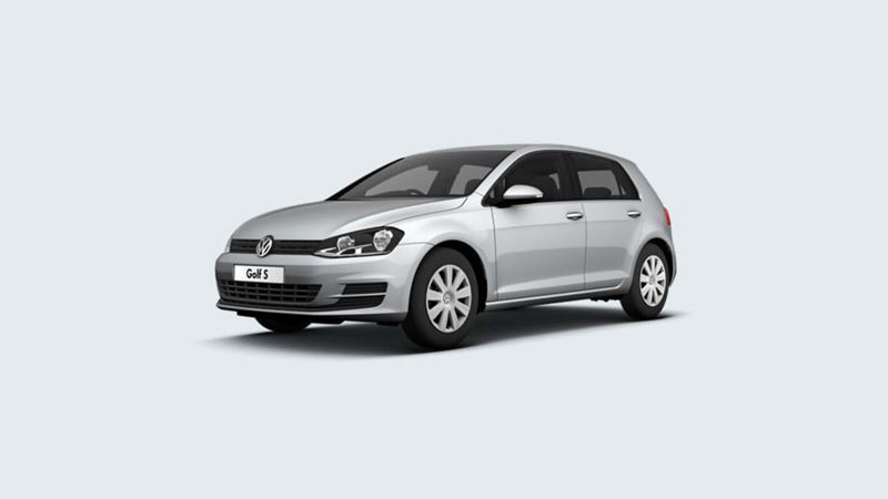 3/4 front view of a silver Volkswagen Golf S.