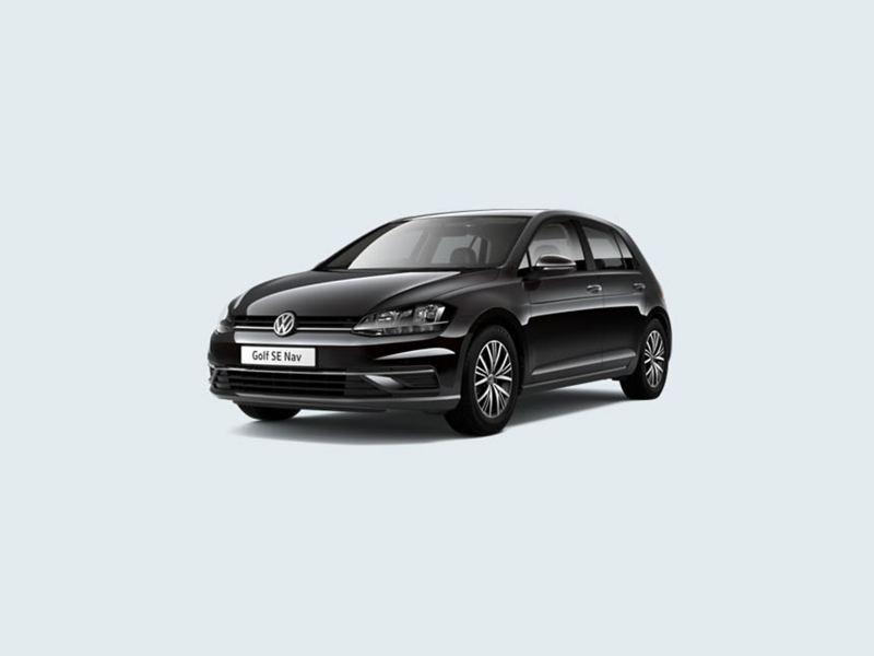 3/4 front view of a black Volkswagen Golf SE Nav.