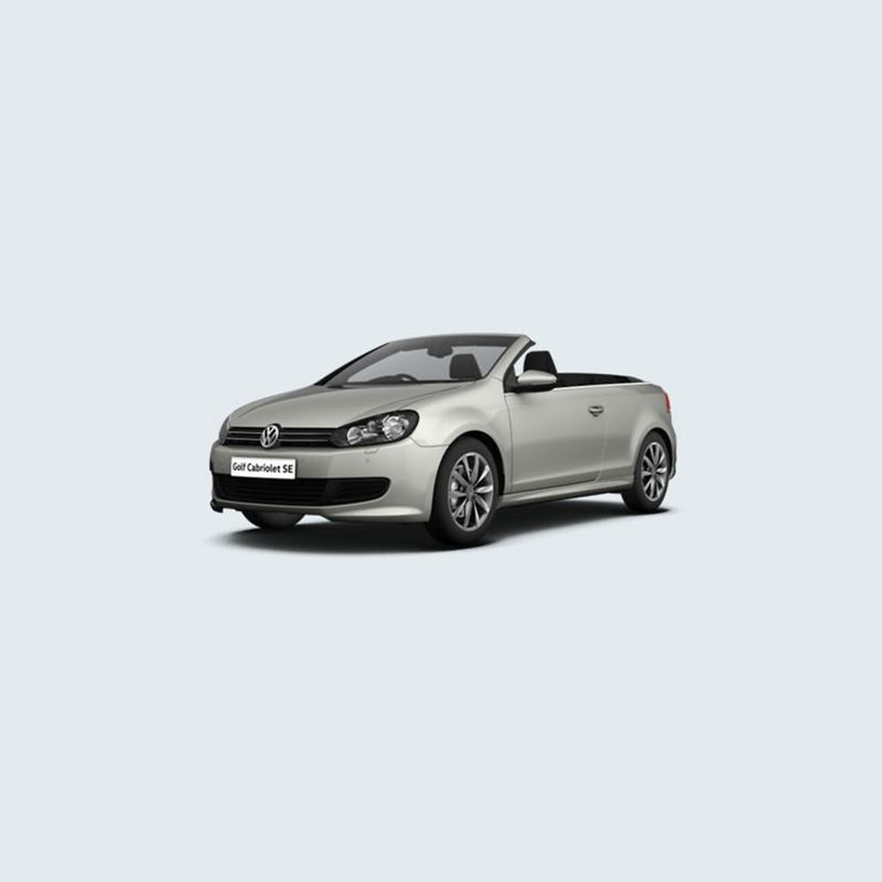 3/4 front view of a silver Volkswagen Golf Cabriolet SE.