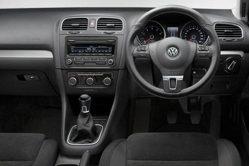 Interior shot of a Volkswagen Golf Estate, steering wheel and dashboard.