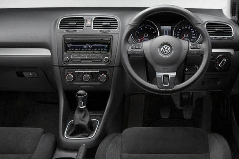 Interior shot of a Volkswagen Golf Estate, steering wheel and dashboard.