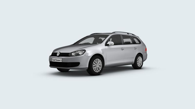 3/4 front view of a silver Volkswagen Golf Estate.