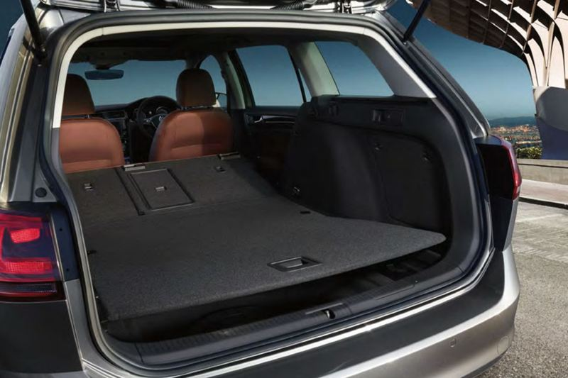 Boot capacity, in a silver Volkswagen Golf Estate.
