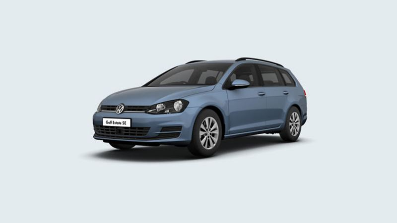 3/4 front view of a grey Volkswagen Golf Estate SE.