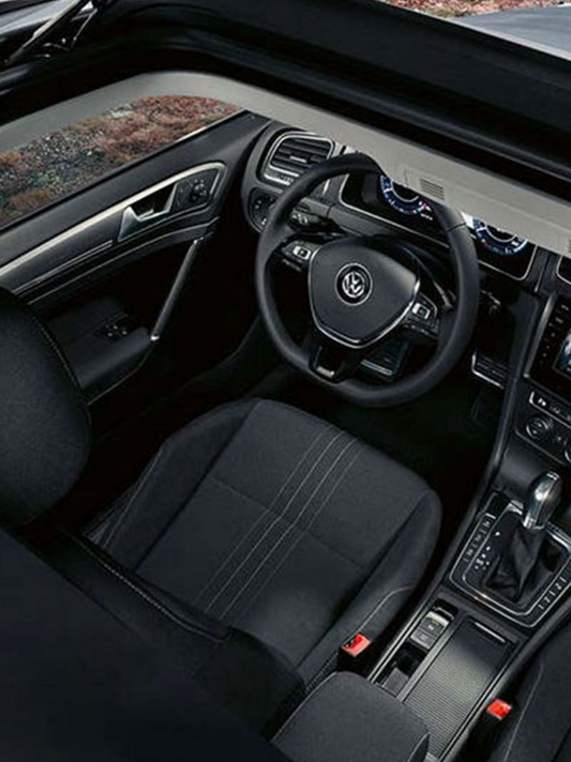 Interior shot of a Volkswagen Golf Estate seats and sunroof.