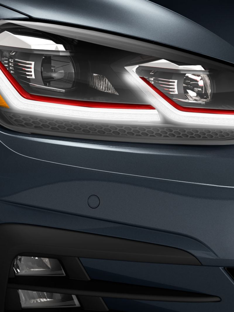 The LED headlights on the Golf GTI