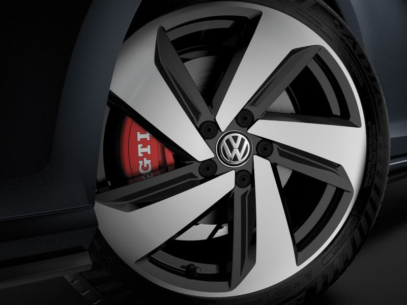 Some pretty fancy wheels on the Golf GTI