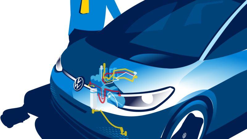 La Volkswagen ID.3 avec une illustration de pompe à chaleur