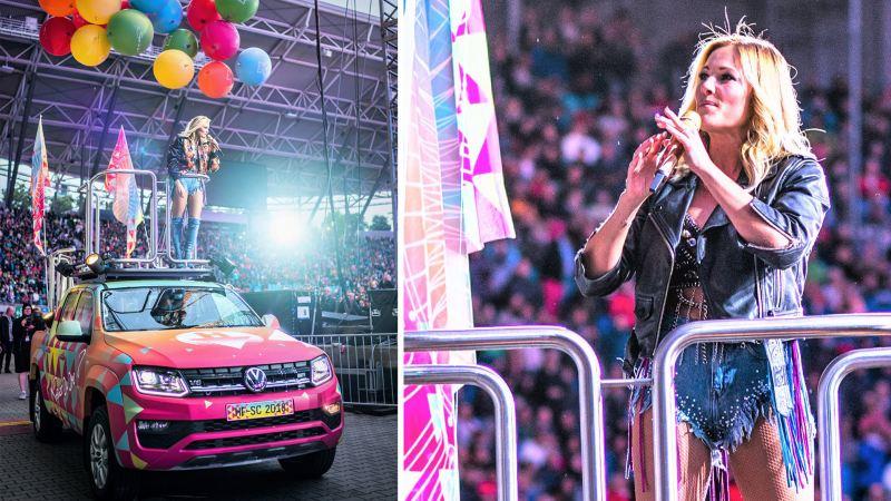 Tyska megastjärnan Helene Fischer på turné med Volkswagen Amarok.