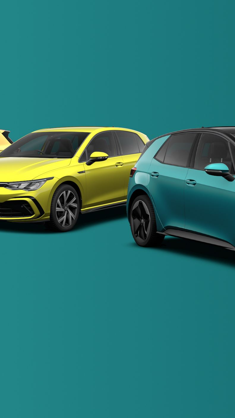 The Volkswagen car range including ID.3 and Golf 8