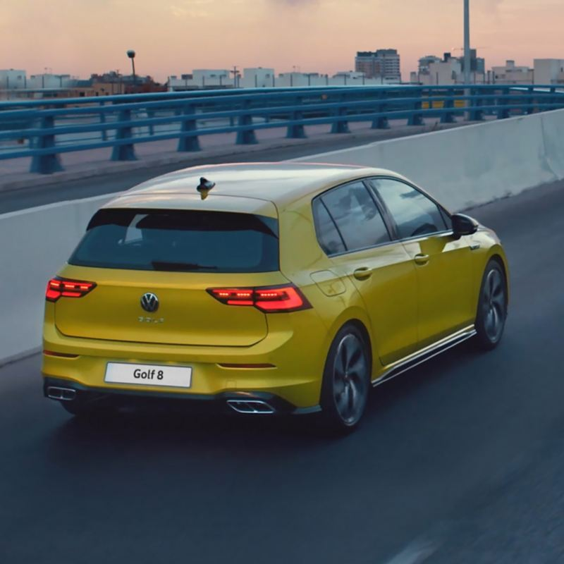 The new Golf being driven on the road