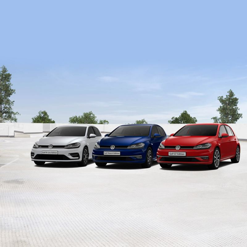 A red Golf GT Edition, a white Golf R-Line Edition and a blue Golf Match Edition from front view