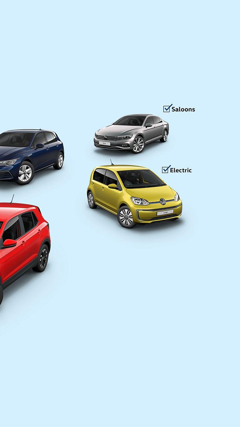 Volkswagen T-Cross, e-up!, Golf and Passat Saloon