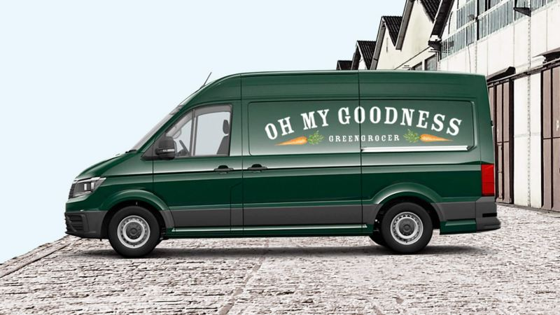 VW Crafter panel van with business signwriting
