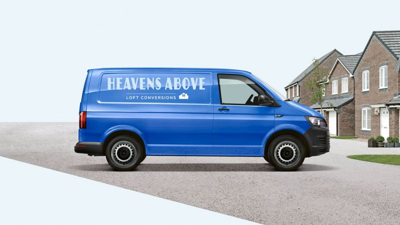 VW Transporter panel van with business signwriting