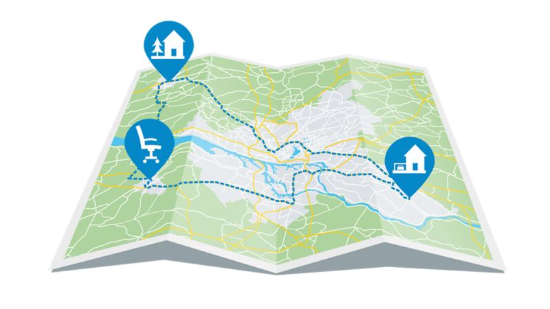 A map that shows the route leading from home to the office and to the holiday destination outside of town
