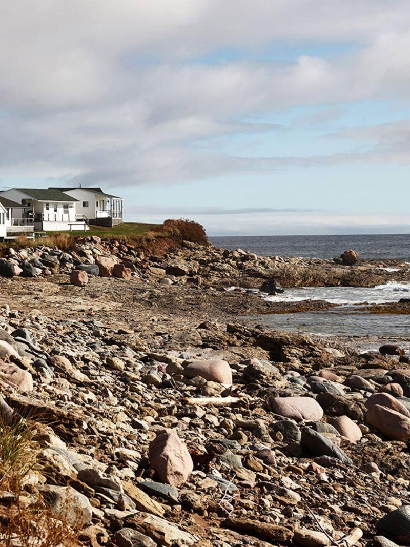 Några småhus vid kusten i Nova Scotia