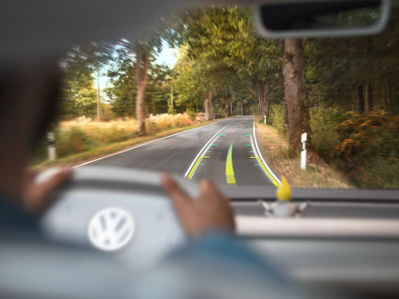 Hur AR head-up displays fungerar i Volkswagen ID. Buzz.