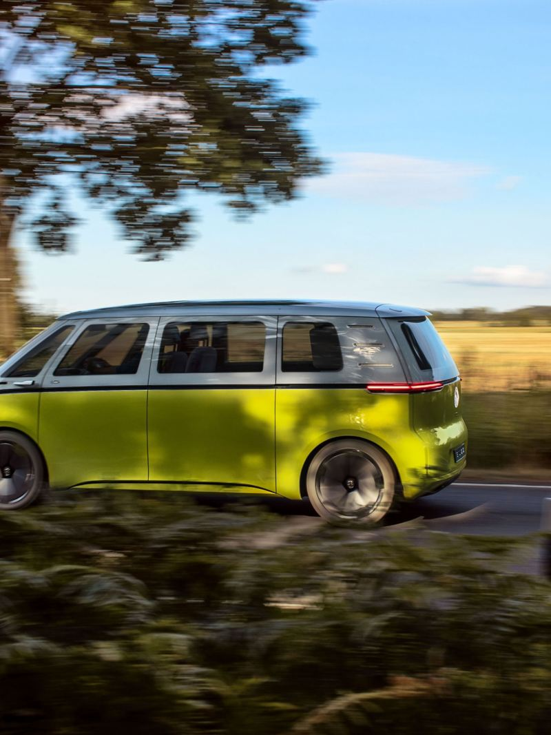 The electric microbus ID. Buzz from Volkswagen on a country road