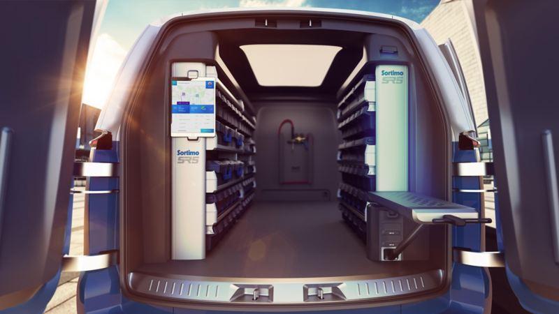 Volkswagen ID. Buzz Cargo konceptbil har ett digitaliserat lastutrymme