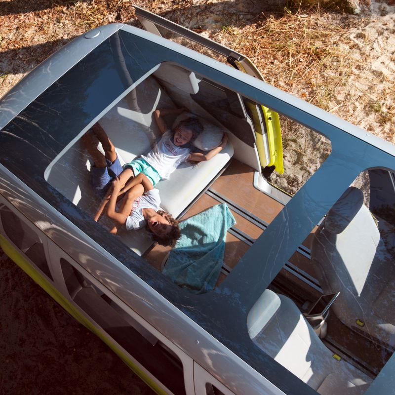 view from the panoramic roof into the interior of the ID. Buzz electric camper van