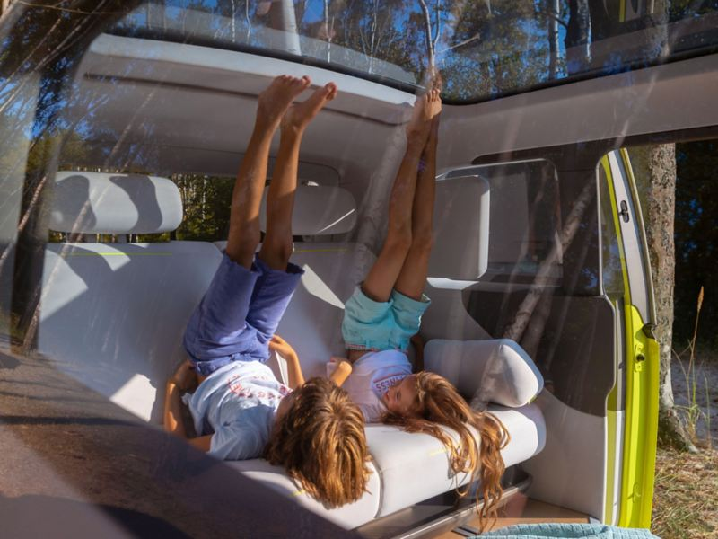 Showing the space in the back of the ID Buzz electric mini-bus from Volkswagen