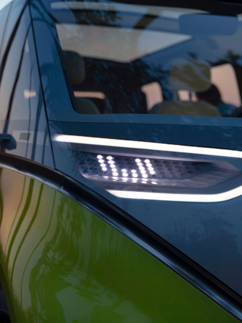 LED headlights of the ID. Buzz electric camper van in detail