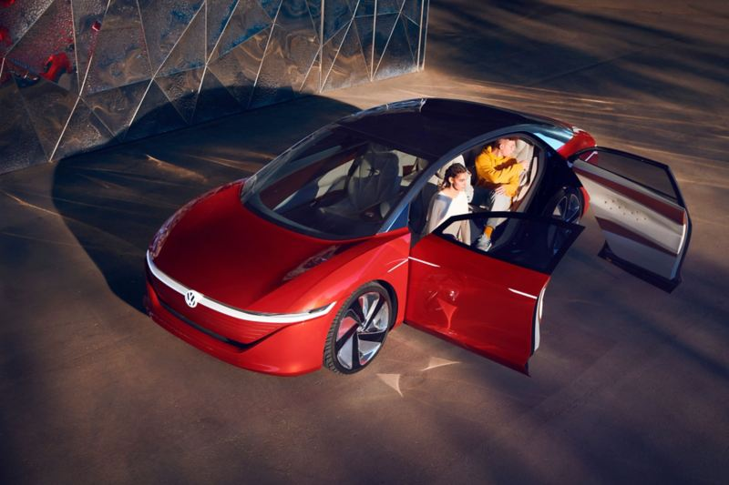 ID. Vizzion electric car from above with opened doors