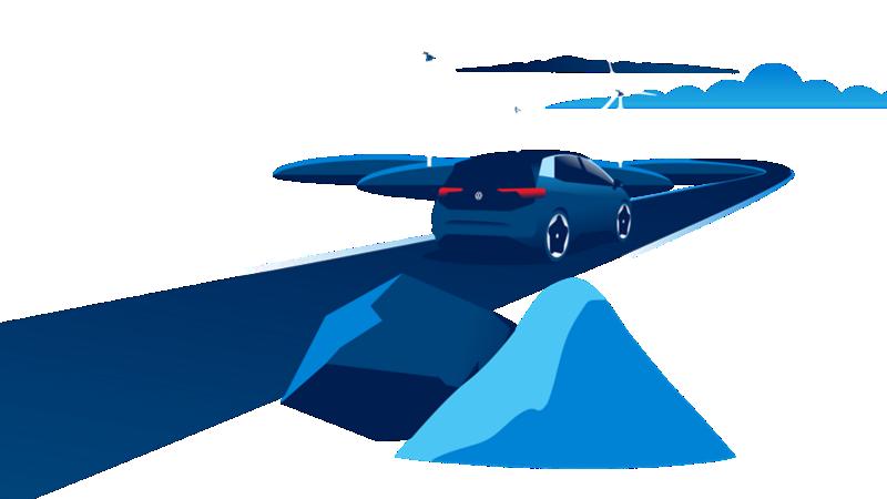 Materie prime, una ID.3 e turbine eoliche