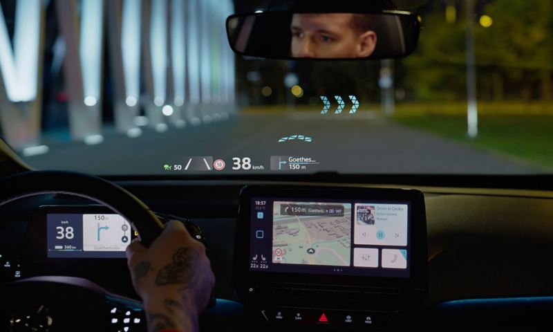 View through the windscreen of the VW ID.3 with augmented reality head-up display