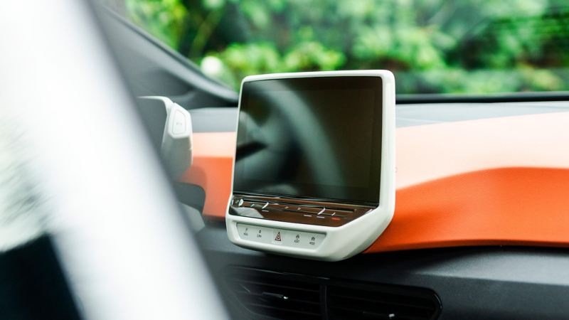 Close-up of the touchscreen in the Volkswagen ID.3 1ST