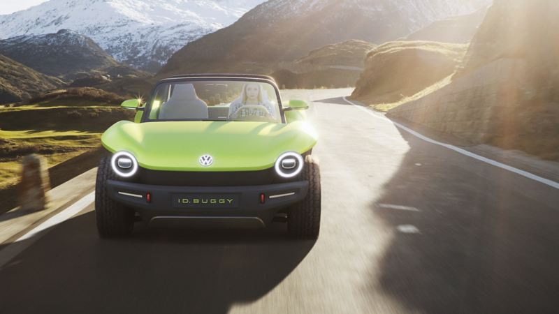 The VW ID. BUGGY driving on country road