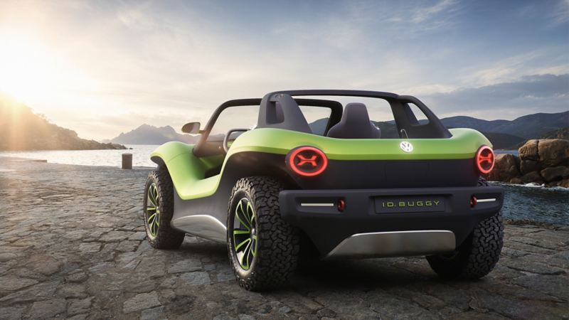 The VW ID. BUGGY from 3/4 rear view