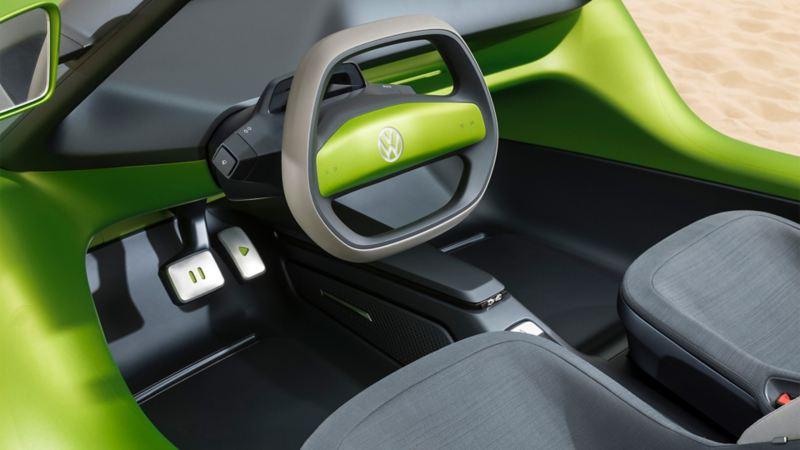 The interior of the ID. BUGGY with a focus on the steering wheel