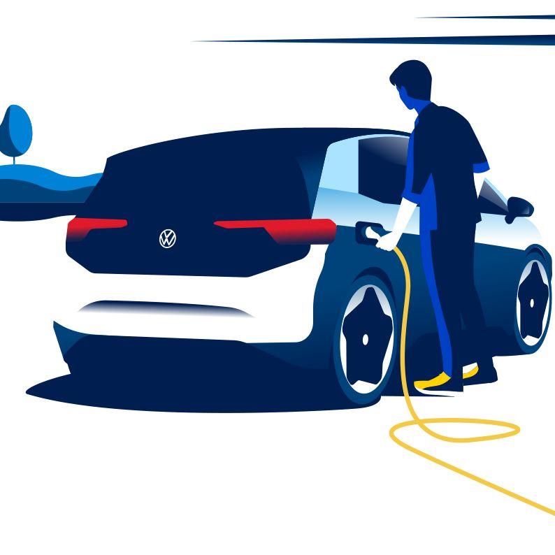 Illustrazione uomo ricarica la sua auto elettrica
