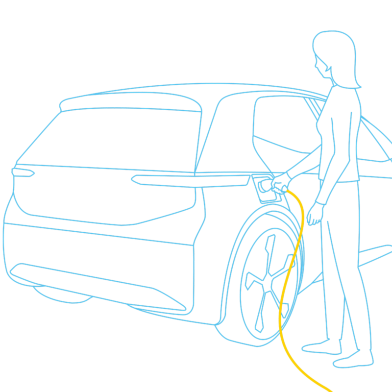 Electric vehicle is plugged into a power socket