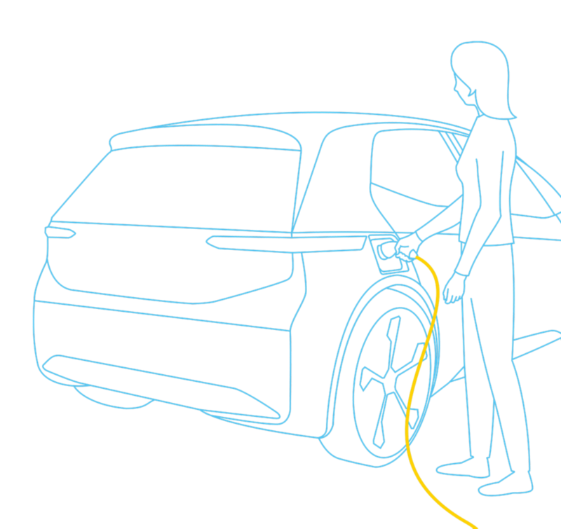 Illustration of a lady charging her electric vehicle.