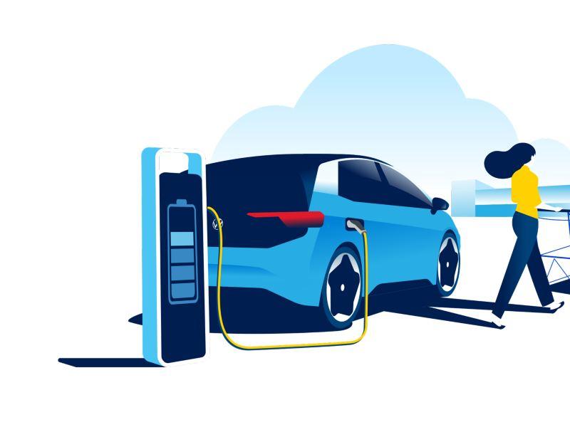 L'auto elettrica durante la ricarica della batteria nel parcheggio di un supermercato.