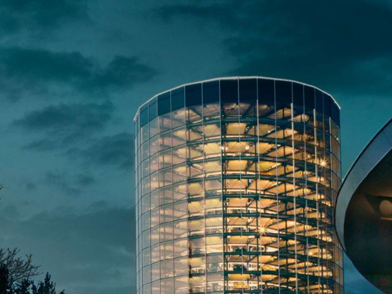 Volkswagen headquarter image, link out to the corporate overview page