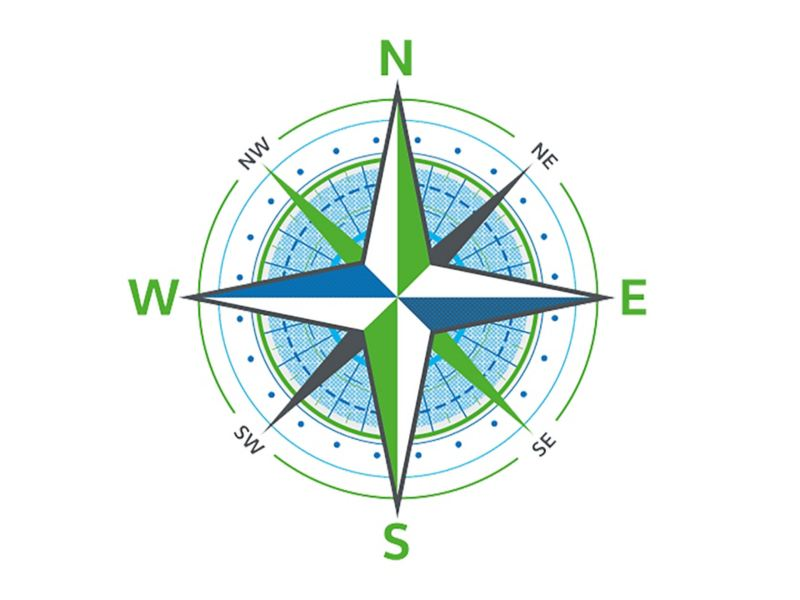 A stylised compass