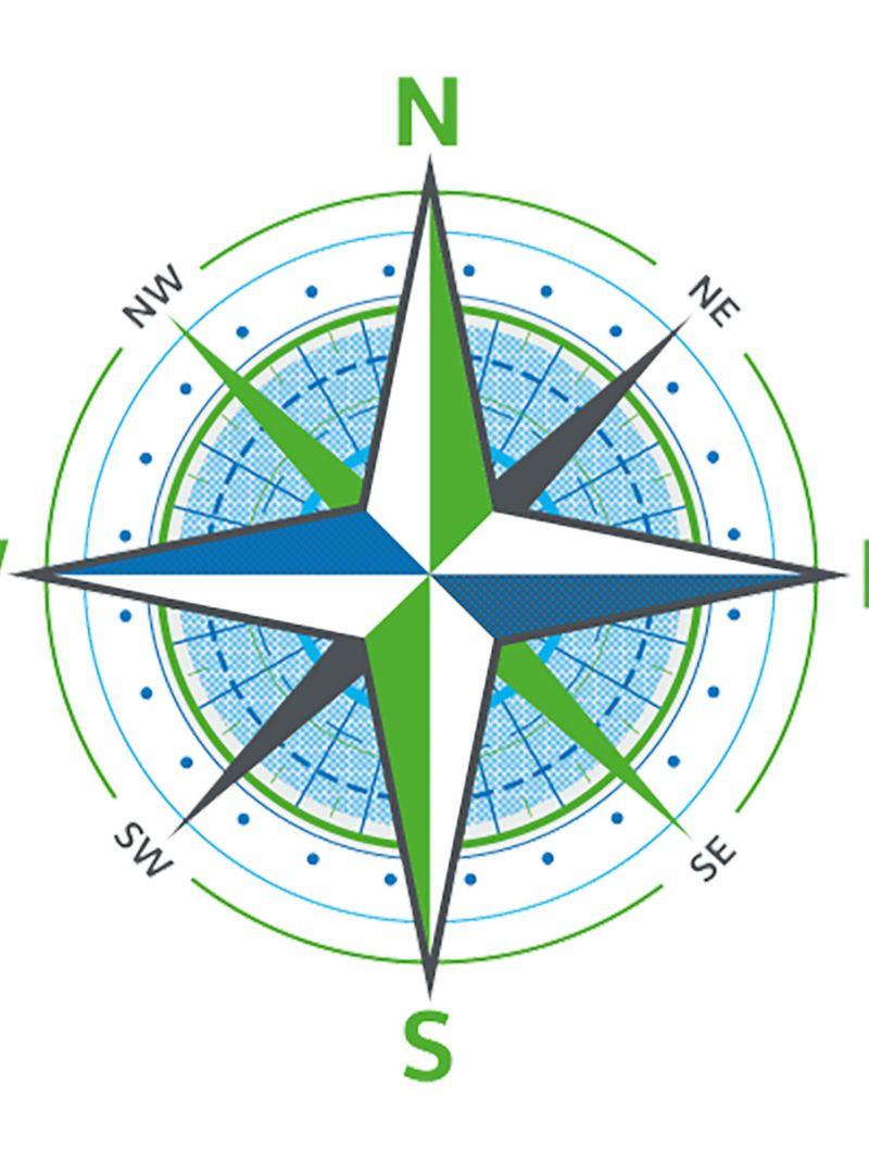 Ein stilisierter Kompass