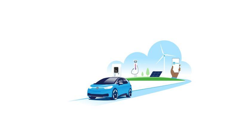 Galería con los proveedores de energía verde Elli e IONITY, además de las infraestructuras de carga y la aplicación Volkswagen We.
