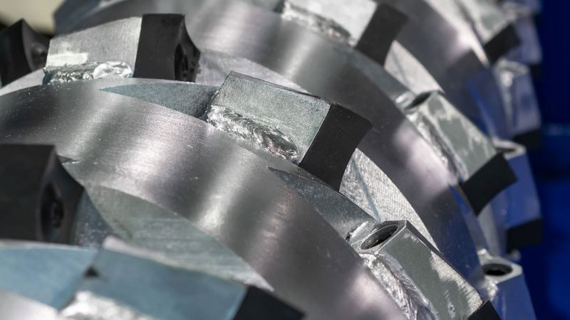 Detailed view of a part of the shredder that will separate Volkswagen car materials into several material groups