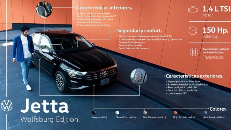 Jetta Wolfsburg Edition de Volkswagen México, auto deportivo equipado con la mejor conectividad y desempeño