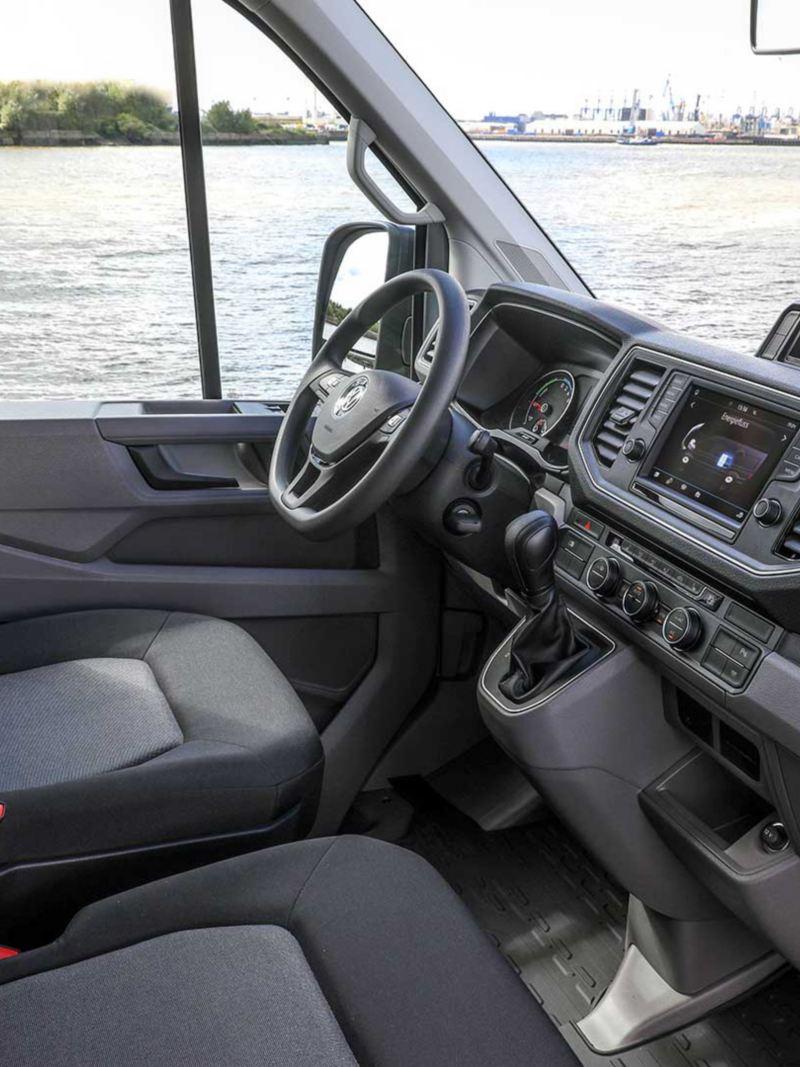 vw Volkswagen e-Crafter interiør førerhus el varebil elektrisk varebil elbil elvarebil interiør Enova støtte klimarabatt nullutslippsfondet